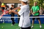 Steffi Graf und André Agassi beim Tennismatch in der Zuger Bossard-Arena im Juni 2013. (Bild: Christof Borner-Keller / Neue ZZ)