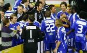 Die FCL-Spieler jubeln nach dem Schlusspfiff. (Bild René Meier/Zisch)