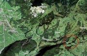 Die Gasexplosion ereignete sich im Gebiet Handgruobi, zwischen Rickenbach und der Ibergeregg. (Bild mapsearch.ch)