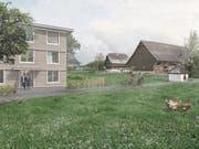 Entwurf eines dreigeschossigen Baus mit Hofladen, im Hintergrund der historische Meierhof.Visualisierung (Bild: : PD)