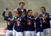 Der FCL bejubelt das 2-0. (Bild: Keystone)
