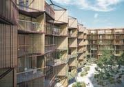 Blick vom Innenhof auf den geplanten Neubau beim Mattenhof-Kreisel mit rund 150 Wohnungen. (Bild: Visualisierung: Manetsch Meyer Architekten)