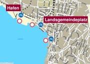 Vom Hafen bis zum Landsgemeindeplatz entlang der Seeanlagen gibt es ein Velofahrverbot. (Bild: Map4news)