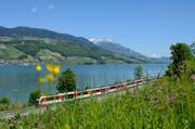 Der Luzern-Interlaken Express am Sarnersee. (Bild: zvg)