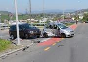 Bei der Einmündung der beiden Strassen kam es zur Kollision mit einem Auto, das auf der Götzentalstrasse bergwärts fuhr. (Bild: Polizei Luzern)