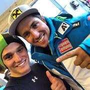Bereits 2014 trafen sich Semyel Bissig (links) und Marcel Hirscher Im Rahmen des Weltcup-Rennens in Sölden. (Bild: PD/Semyel Bissig)