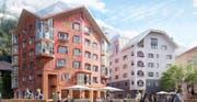 Das Apartmenthaus Alpenrose liegt direkt an der neuen Piazza. (Bild: Visualisierung: Andermatt Swiss Alps)