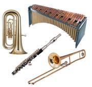 Instrumente, die auch am Musikfest in Sempach gespielt werden: Tuba, Marimbafon, Piccolo und Posaune. (Bilder: Getty)