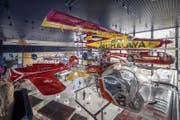 Im Verkehrshaus hängen zahlreiche neue Flugzeuge wie etwa der Pilatus Porter PC 6 (oben links), auch Yeti-Porter genannt. Mit 5700 Metern über Meer ist es das Flugzeug, welches den Weltrekord für die höchste Landung schaffte. (Bild: Pius Amrein (Luzern, 27. März 2018))