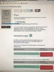 Resultatblatt des Simulators. (Bild: PD)