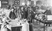 Samenmarkt im Willisauer «Mohren»-Saal im Jahr 1921. (Bild: LSG/PD)