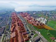 In dieser Zone (rot eingefärbt) sollen die Bauten in die Höhe wachsen können. (Bild Daniel Rösner/Visualisierung Tanja Rösner)