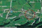 Buttikon (SZ) gehört zur Gemeinde Schübelbach und liegt zwischen Pfäffikon und Ziegelbrücke. (Bild: map.search.ch)