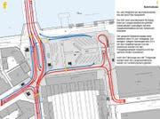 Die Wegfahrt vom Bahnhof erfolgt via Inseli, so der Vorschlag des TCS. (Bild: Grafik TCS)