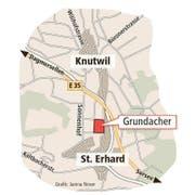 Knutwil hat Grosses vor auf dem Grundacher: Hier sollen sich dereinst neue Infrastrukturbauten konzentrieren (Bild: Grafik Jana Noser / Neue LZ)