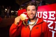 Wird am 27. August gemeinsam mit seinen Teamkollegen in Luzern feierlich empfangen: Der Olympiasieger Mario Gyr. (Bild: Keystone)