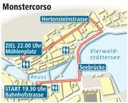 Die Route des Monstercorso 2015. (Bild: Grafik: Neue LZ)