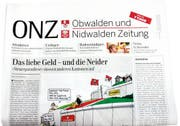 """So könnte sie aussehen: Die neue, zweimal pro Woche erscheinende """"""""Obwalden und Nidwalden Zeitung"""""""". (Bild pd)"""