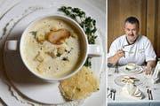 Knoblauchsuppe mit Thymian: René Gisler vom Schlossrestaurant A Pro in Seedorf. (Bild: Pius Amrein / Neue LZ)