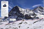 Die geplante Streckenführung des «Eiger-Express» führt am Fuss der eindrücklichen Eigernordwand entlang. (Bild PD/Bearbeitung Janina Noser)