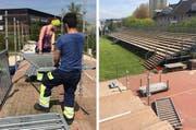 Helfer beim Aufbau der Tribüne in Hünenberg. (Bilder PD)