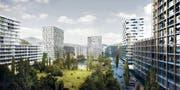 So soll der neue Stadtteil zwischen Zug und Baar dereinst aussehen. (Bild: Visualisierung PD)
