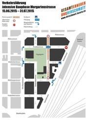Die geplante Verkehrsführung im Hirschmattquartier während der Bauarbeiten bei der Morgartenstrasse. (Bild: Grafik PD)