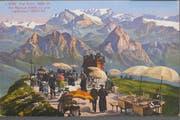 Gigantische, bisher kaum gesehene Aussicht: Im Hintergrund die Mythen vor dem Glärnisch. Ansicht auf einer Postkarte. (Bild: PD/Regionalmuseum Vitznau-Rigi)