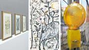 (Von links:) Franz Erhard Walther bei den Hilfiker Kunstprojekten, Illustration von Gabor Fekete, bald zu sehen in der neuen Galerie Kunstmetzgerei, und eine Fotoarbeit von Silas Kreienbühl, zu sehen im Bau4. (Bilder: PD)