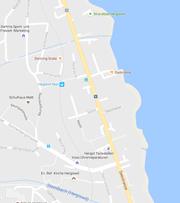 Die Seestrasse (gelb) wird in der Nacht auf Donnerstag zwischen dem Strandbad und der Einmündung der Sonnenbergstrasse gesperrt. (Bild: Google Maps (Screenshot))