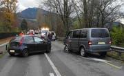 Die Unfallstelle auf der Seedammstrasse in Pfäffikon. (Bild: pd/Kantonspolizei Schwyz)