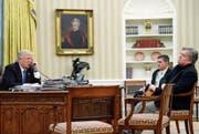 Hier herrschte noch Frieden: US-Präsident Trump und sein Ex-Chefberater Steve Bannon (rechts).Bild: Alex Brandon/AP (Washington, 28. Januar 2017) (Bild: Alex Brandon/AP (Washington, 28. Januar 2017))