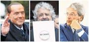 Sie prägen den Wahlkampf (von links): Ex-Premier Silvio Berlusconi, Movimento-5-Stelle-Chef Beppe Grillo und Regierungschef Paolo Gentiloni. (Bilder: Julien Warnand/EPA, Gregorio Borgia/AP, Salvator Di Nolfi/Keystone)