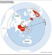 Die theoretische Reichweite nordkoreanischer Raketen. (Bild: Grafik: Oliver Marx / Quelle: DPA)
