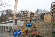 Die Baustelle in der Siedlung Obermaihof. (Bild: Lucien Rahm (Luzern, 29. März 2018))