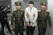Der verstorbene Otto Warmbier beim Schauprozess in Nordkorea. (Bild: Jon Chol Jin/AP (Pjöngjang, 16. März '16))