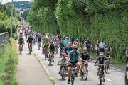 Der 24 Kilometer lange Slow-up um den Sempachersee zog gestern 35 000 Besucher an. Unter ihnen Joel, Martin und Lukas aus Nottwil (oben), welche die Strecke auf ihren Traktoren bewältigten. (Bilder: Roger Grütter (20. August 2017))