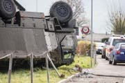 Die Unfallstelle in Schwyz. (Bild: Alexandra Wey / Keystone)
