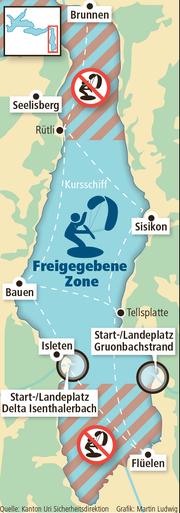 Hier sieht man welche Fläche die Kitesurfer künftig nutzen dürfen. (Bild: Martin Ludwig)