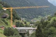 Die Baustelle der Reussbrücke Meitschligen im August 2016.