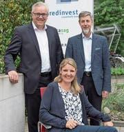 Ein Teil der Geschäftsleitung der Redinvest Luzern. Von links: Thomas Peter, Luzia Bärtschi, Thomas Winiger. (Bild: Nadia Schärli (Luzern, 12. Juni 2017))