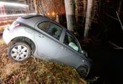 Das Auto wurde beim Ausweichmanöver durch einen Baum gestoppt. (Bild: luzerner Polizei (Malters, 12. Dezember 2017))