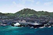 Möglicher Standort der Salle Modulable auf dem Inseli. (Bild: Visualisierung PD)