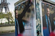 «Voleur» – «Dieb» – schimpft ein Graffiti den konservativen Präsidentschaftskandidaten François Fillon. Gegen Fillon läuft ein Ermittlungsverfahren wegen Veruntreuung. (Bild: Ian Langsdon/EPA (Paris, 4. April 2017))