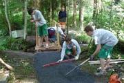 Die Lehrlinge der CKW Conex AG beim bauen des Rotbachtobel-Wanderwegs. (Bild: pd)