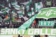 Fans des FC St. Gallen. Hier bei einem Heimspiel in der AFG-Arena in St. Gallen. (Bild: Keystone)