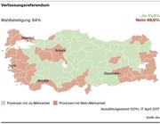 Das Abstimmungsergebnis gemäss der türkischen Nachrichtenagentur Anadolu. (Bild: Grafik: sbu)
