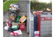 Hässlicher Anblick: Achtlos weggeworfener Abfall an einer Sammelstelle in Ebikon. (Bild: Hans Mathys)