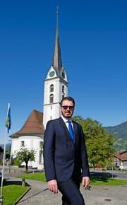 Patrick Mittermüller im Mai 2014 beim Pfarrhof Kerns. (Bild Corinne Glanzmann)
