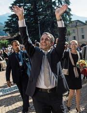 Ignazio Cassis während des Empfangs in Bellinzona. (Bild: Urs Flüeler/Keystone)